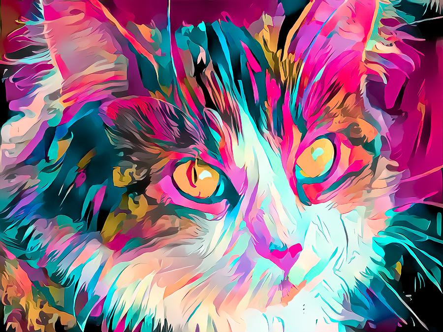 Colorful Cat Face Abstract Pink Digital Art