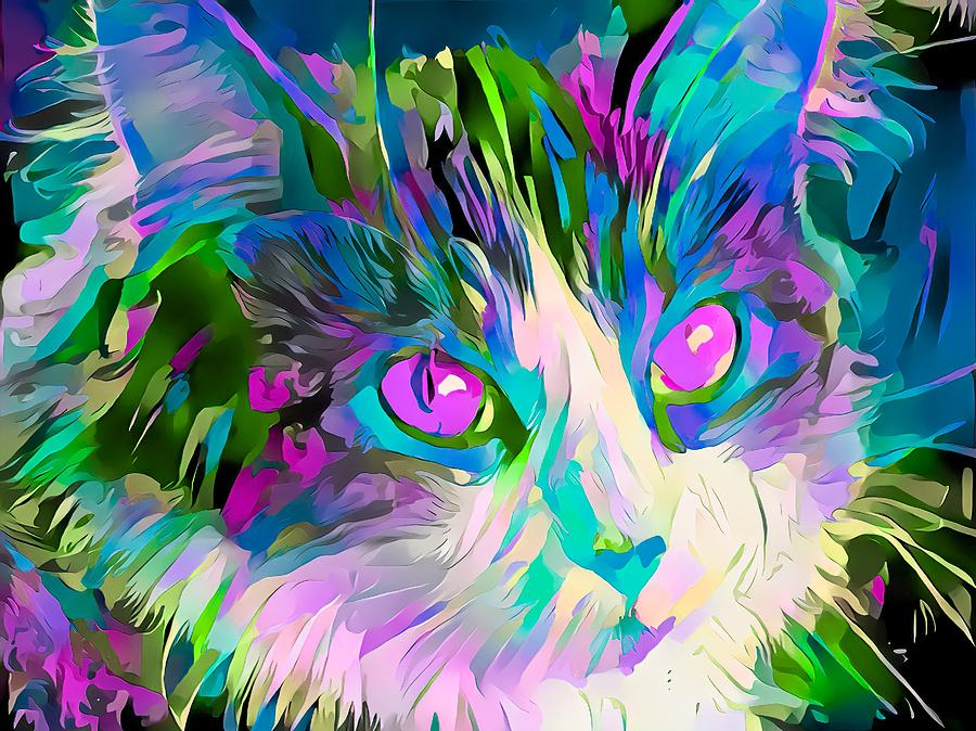 Colorful Cat Face Abstract Purple Eyes by Don Northup