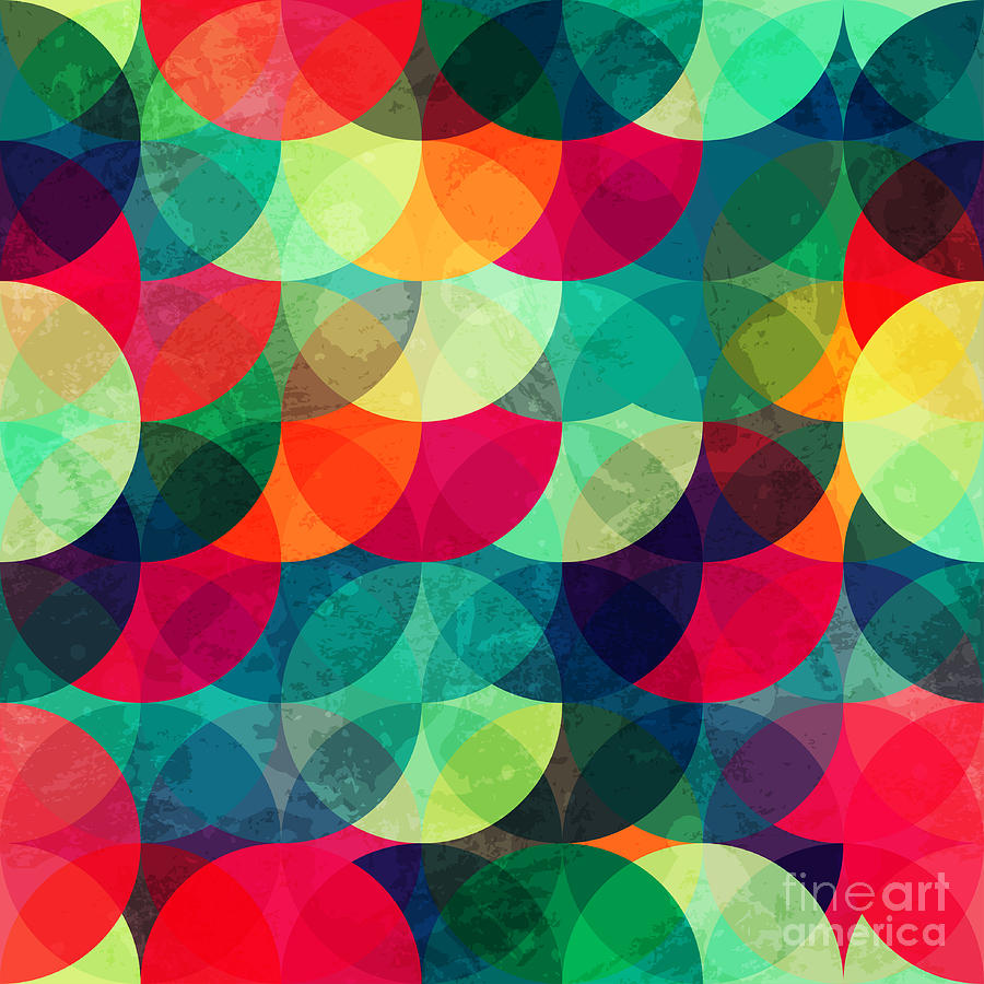 Beauty Digital Art - Colorful Circle Seamless Pattern With by Gudinny