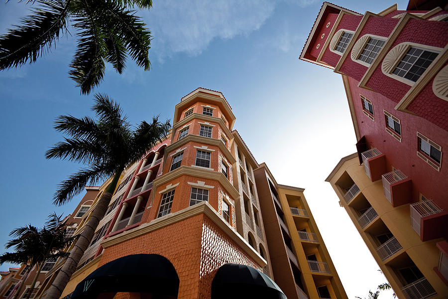 Colorful Condominiums Wide Angle Photograph by Denguy