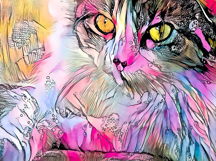 Colorful Content Cat Watercolor Digital Art