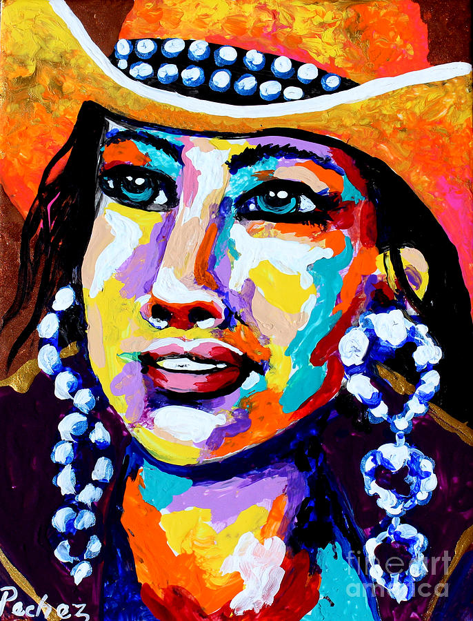 colorful cowgirl 3 on tile by Pechez Sepehri