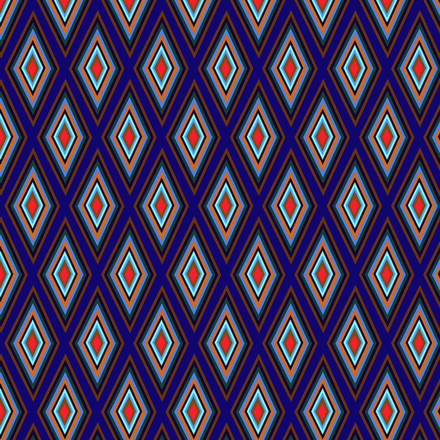 Colorful Diamonds Geometric Pattern Variation 3 Digital Art