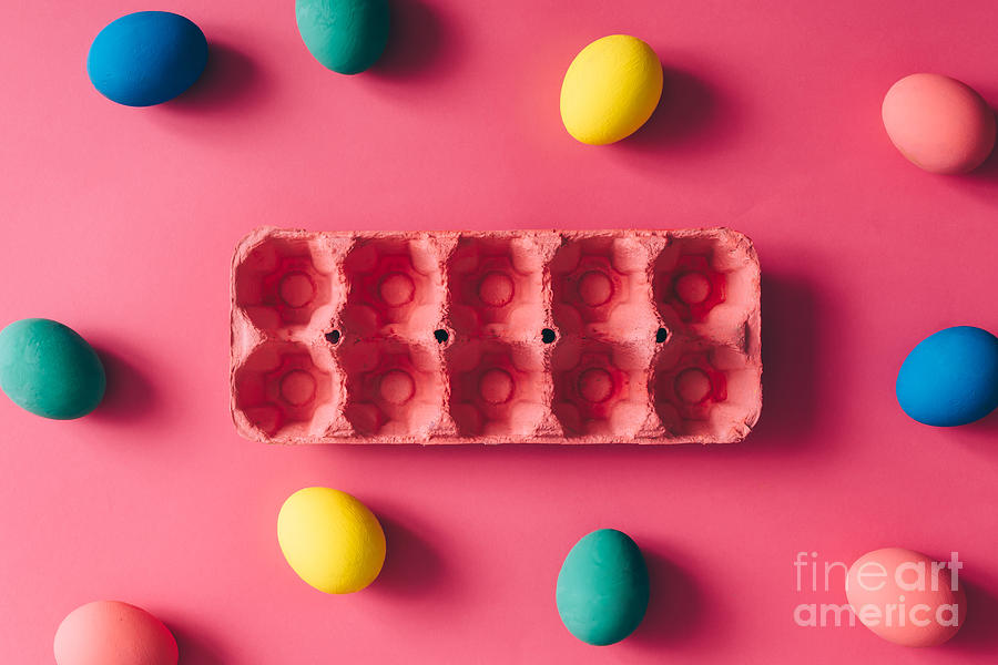 Carton Photograph - Colorful Easter Eggs On Pink Background by Zamurovic Photography