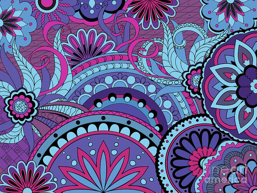 Colorful Floral Background In Boho Style Digital Art by Sliplee
