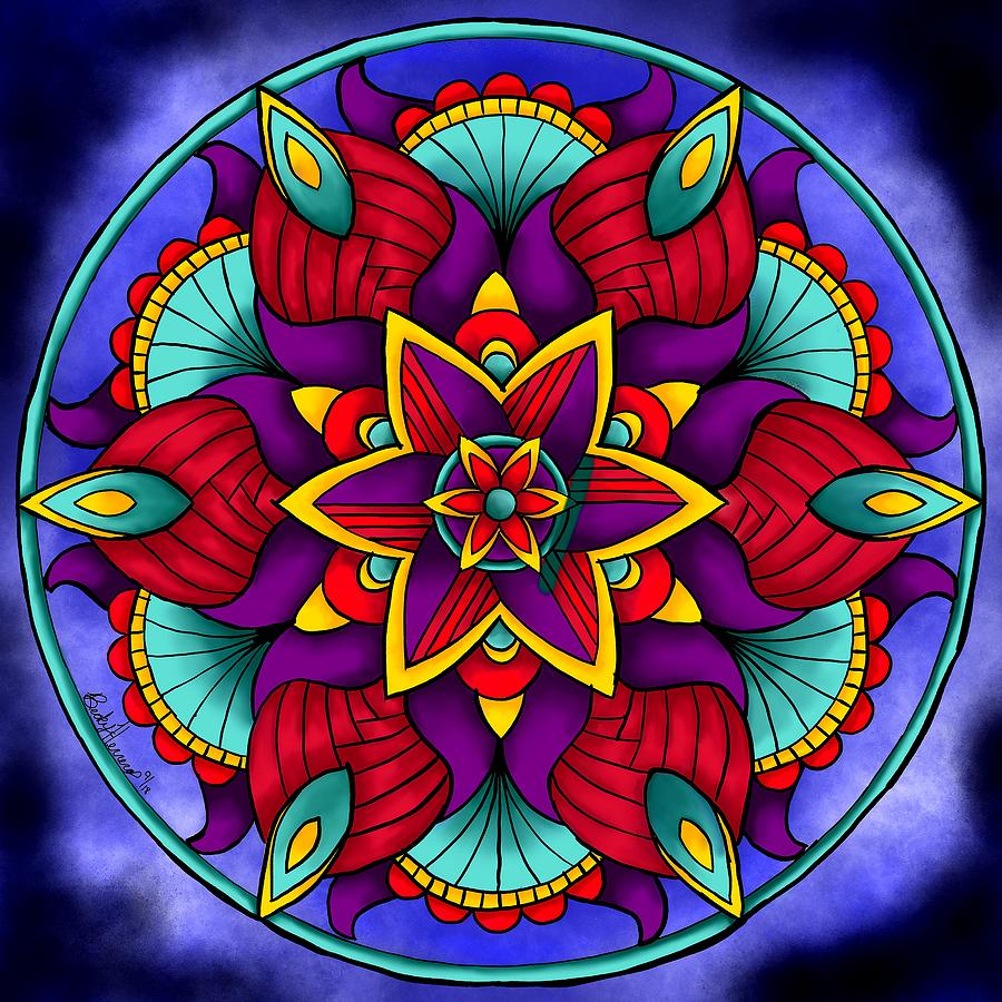Colorful Flower Mandala by Becky Herrera