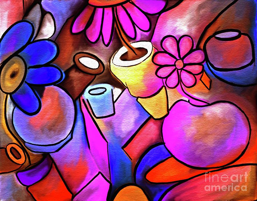 Colorful Flowerpots Abstract Digital Art