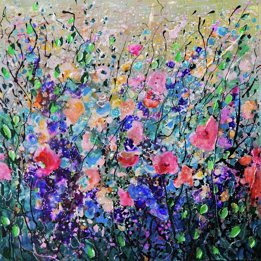 Colorful Flowers Painting by OLena Art - Lena Owens