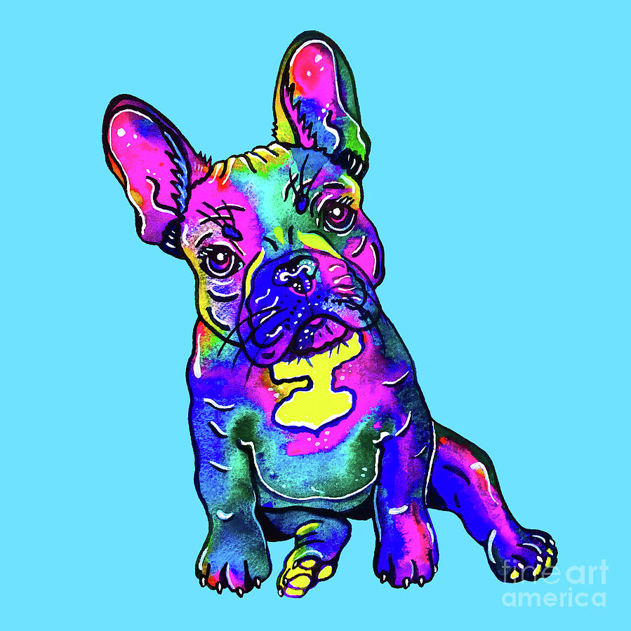 Colorful French Bulldog on Blue by Zaira Dzhaubaeva