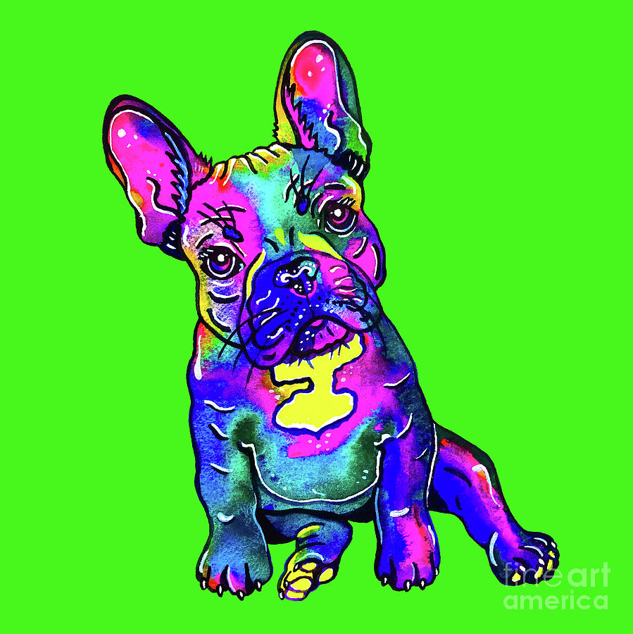 Colorful French Bulldog on Green by Zaira Dzhaubaeva