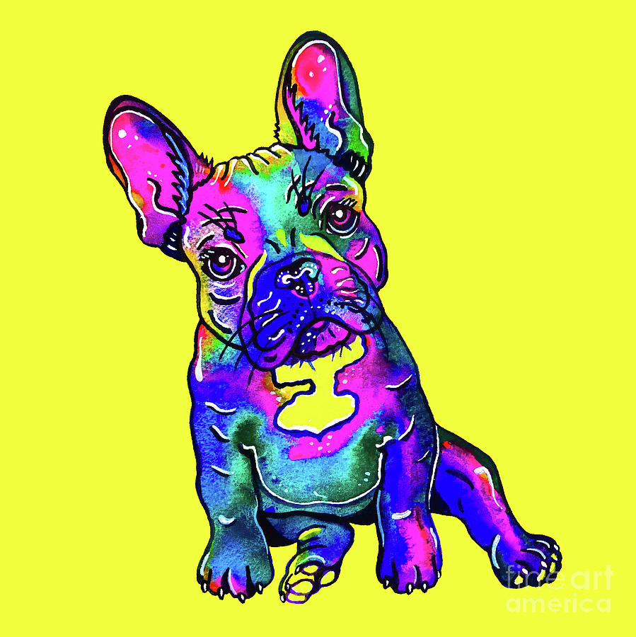 Colorful French Bulldog on Yellow by Zaira Dzhaubaeva