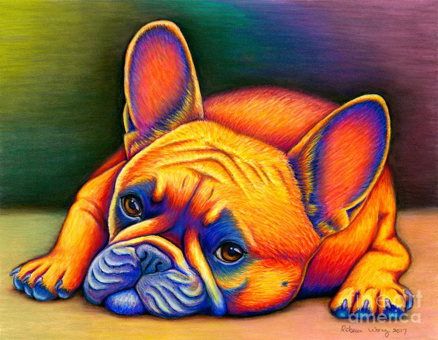 Colorful French Bulldog by Rebecca Wang