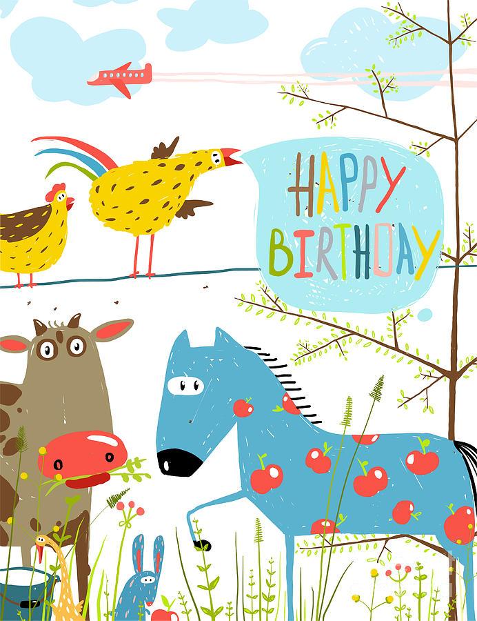Birthday Digital Art - Colorful Funny Cartoon Farm Domestic by Popmarleo