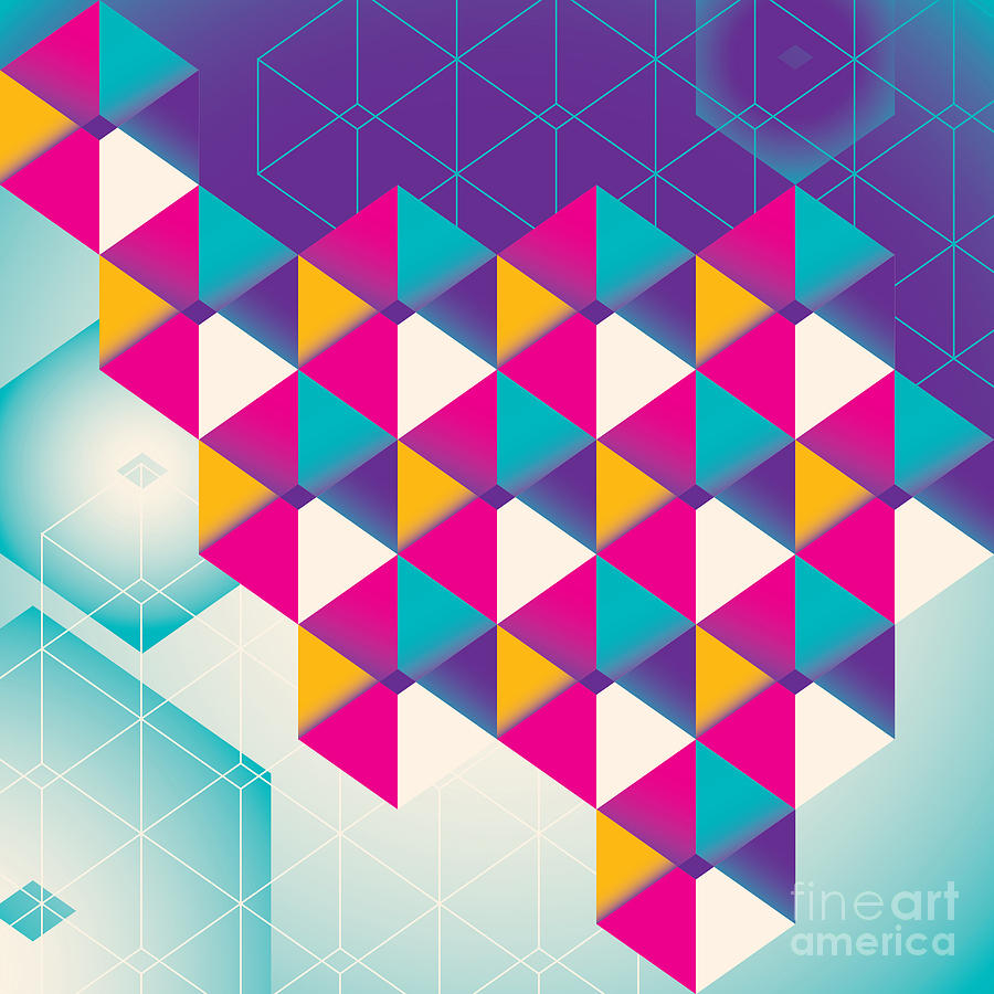 Cover Digital Art - Colorful Geometric Abstraction. Vector by Radoman Durkovic