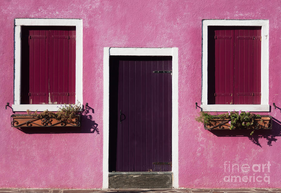 Door Photograph - Colorful Geometry Photo Of A House In by Zinaida Zakharova
