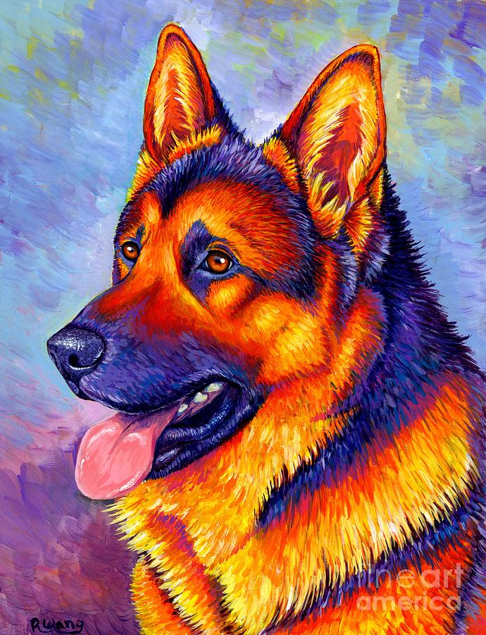 German Shepherd Dog Painting - Colorful German Shepherd Dog by Rebecca Wang