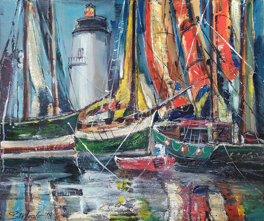 Seaport Painting - Colorful Harbor by Stefano Popovski