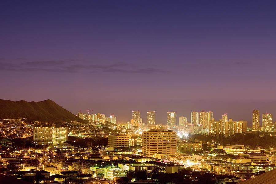Colorful Honolulu Twilight Skyline Photograph by Mlenny