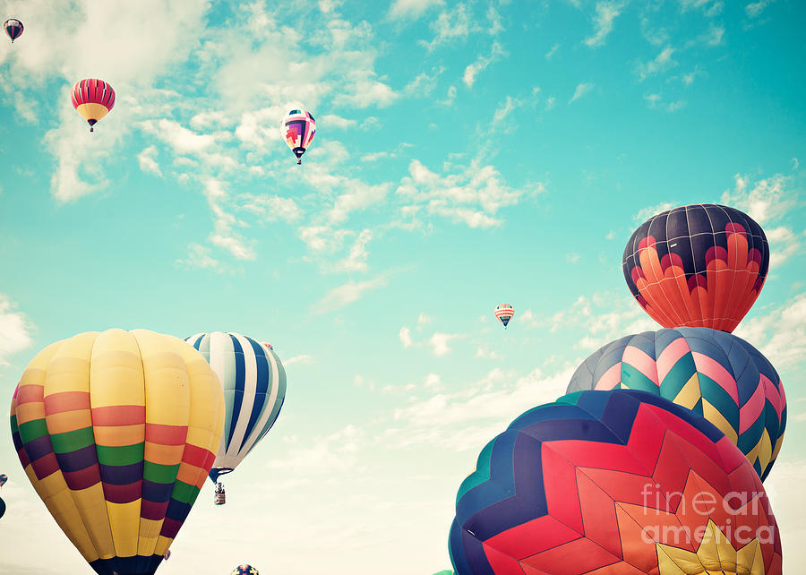 Basket Photograph - Colorful Hot Air Balloons by Andrekart Photography