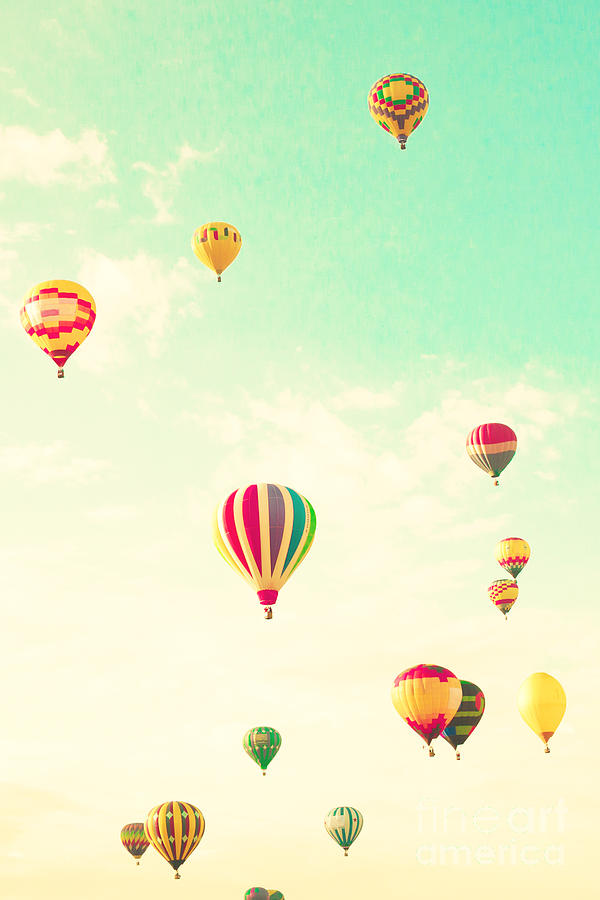 Basket Photograph - Colorful Hot Air Balloons In A Green by Andrekart Photography