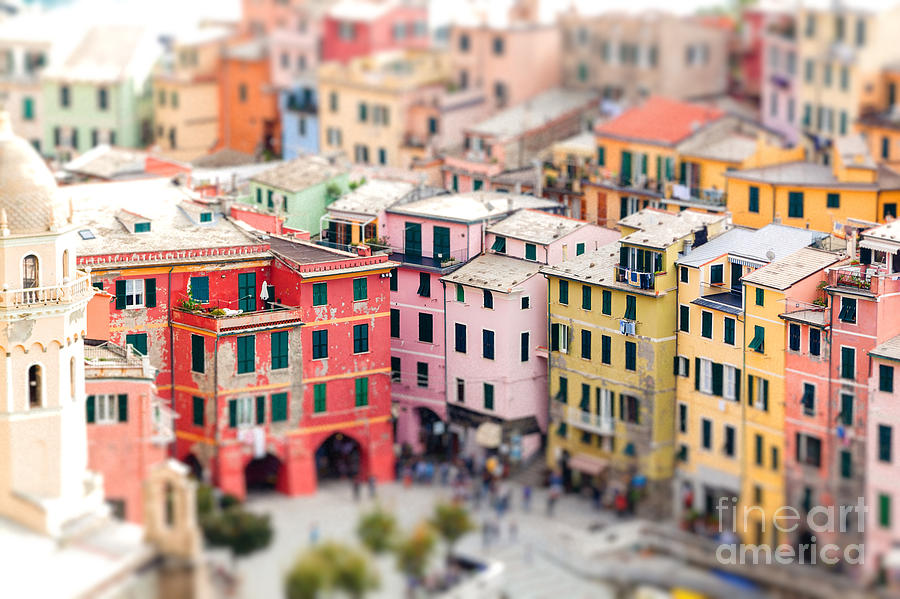 Church Photograph - Colorful Houses Of Vernazza by Fischers