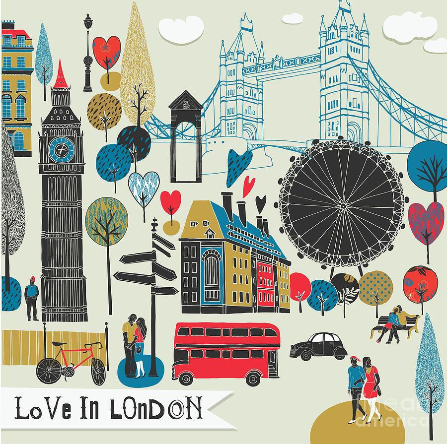 Date Digital Art - Colorful Illustration Of London by Lavandaart