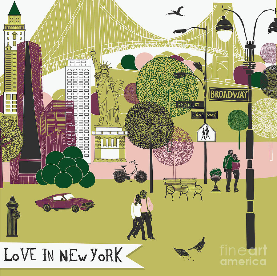 Date Digital Art - Colorful Illustration Of New York by Lavandaart
