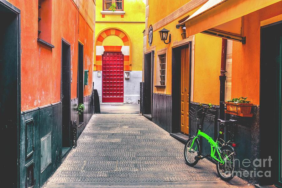 colorful italian alley bike Rapallo Liguria by Luca Lorenzelli