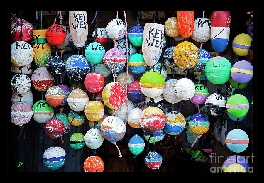 Colorful Key West Lobster Buoys With Border Photograph