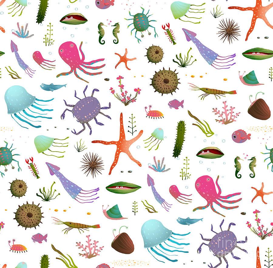 Sea Urchin Digital Art - Colorful Kids Cartoon Sea Life Seamless by Popmarleo