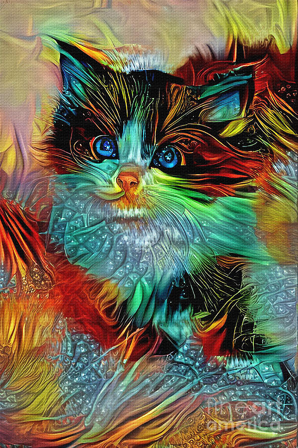 Colorful Kitten Art by Kaye Menner by Kaye Menner