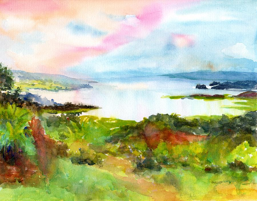 Colorful Lake Landscape - Arenal Costa Rica by CarlinArt Watercolor