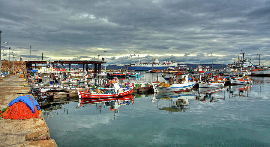 Colorful Lavrium Fishing Port Photograph by Alexandros Photos