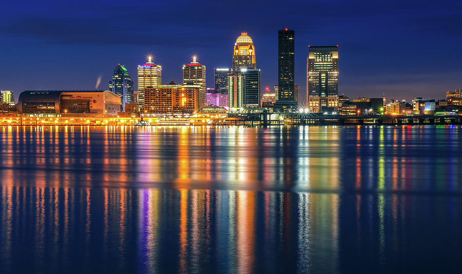 Colorful Louisville Skyline Reflection At Night by Dan Sproul