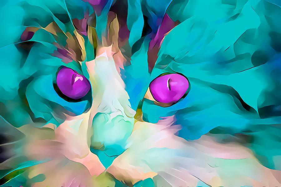 Colorful Masters Blue Glow Kitten Digital Art