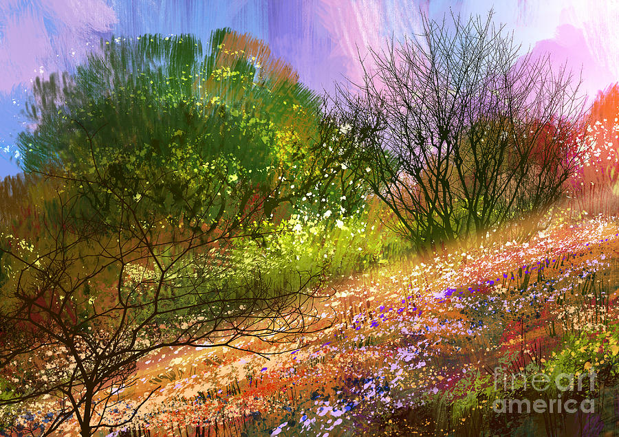 Forest Digital Art - Colorful Meadow,landscape Digital by Tithi Luadthong