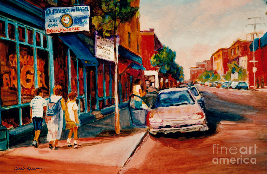 COLORFUL MONTREAL STREETS  C SPANDAU CANADIAN CITYSCENE ARTIST MILE END PLATEAU QUEBEC FINE ART  by CAROLE SPANDAU