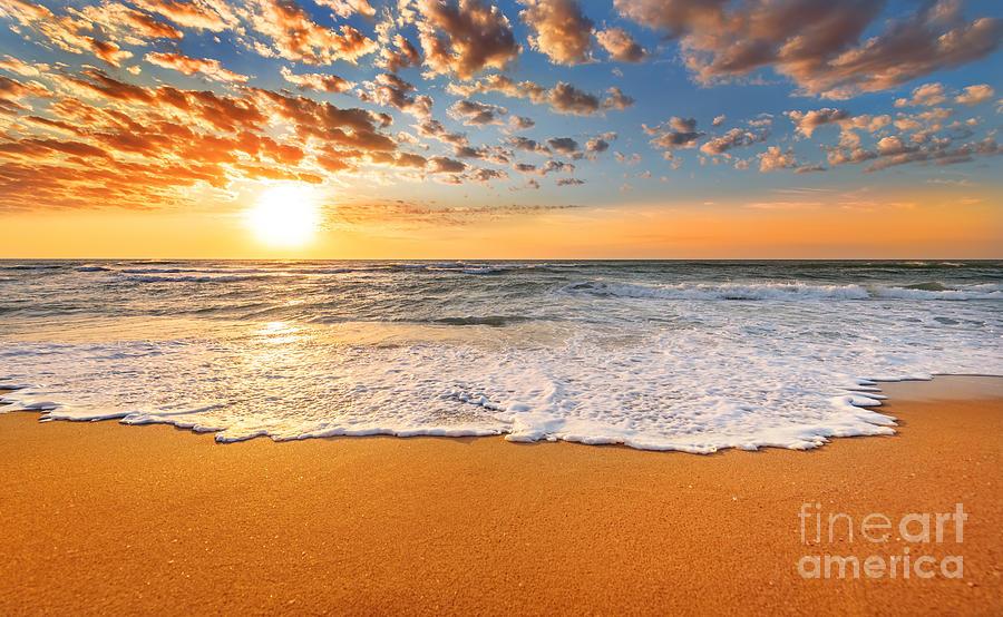 Florida Photograph - Colorful Ocean Beach Sunrise by Vrstudio