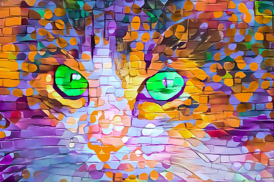 Colorful Paint Daubs Kitten Green Eyes by Don Northup