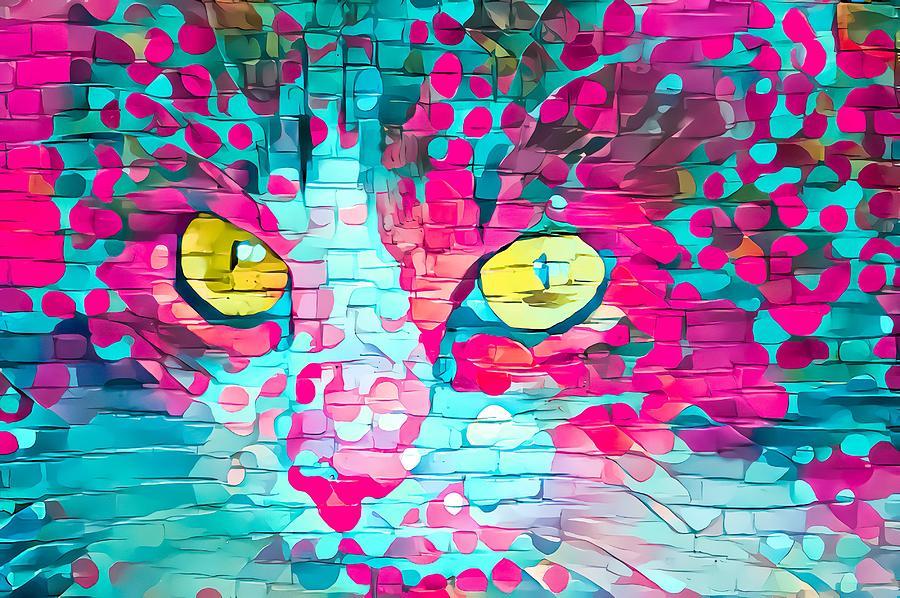 Colorful Paint Daubs Kitten Yellow Eyes Digital Art