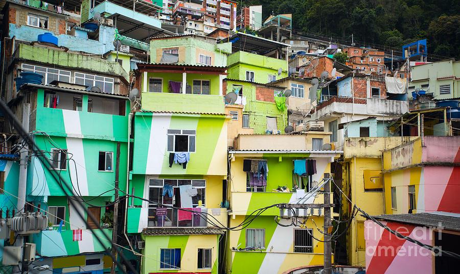 De Photograph - Colorful Painted Buildings Of Favela by Skreidzeleu