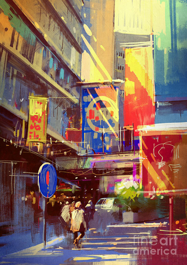 Shop Digital Art - Colorful Painting Of Urban by Tithi Luadthong
