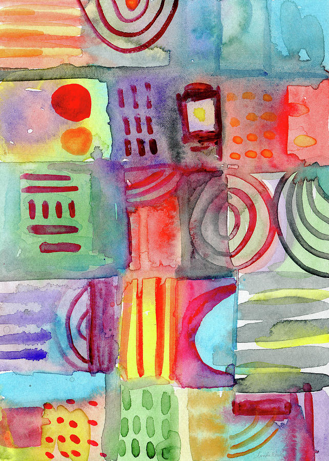 Watercolor Painting - Colorful Patchwork 1- Art By Linda Woods by Linda Woods