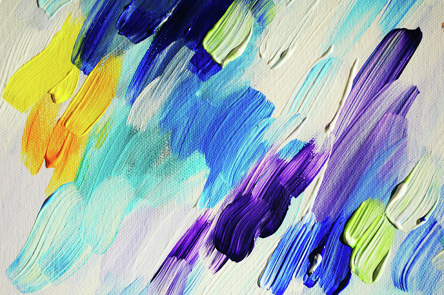 Abstract Photograph - Colorful Rain Fragment 1. Abstract Painting by Jenny Rainbow