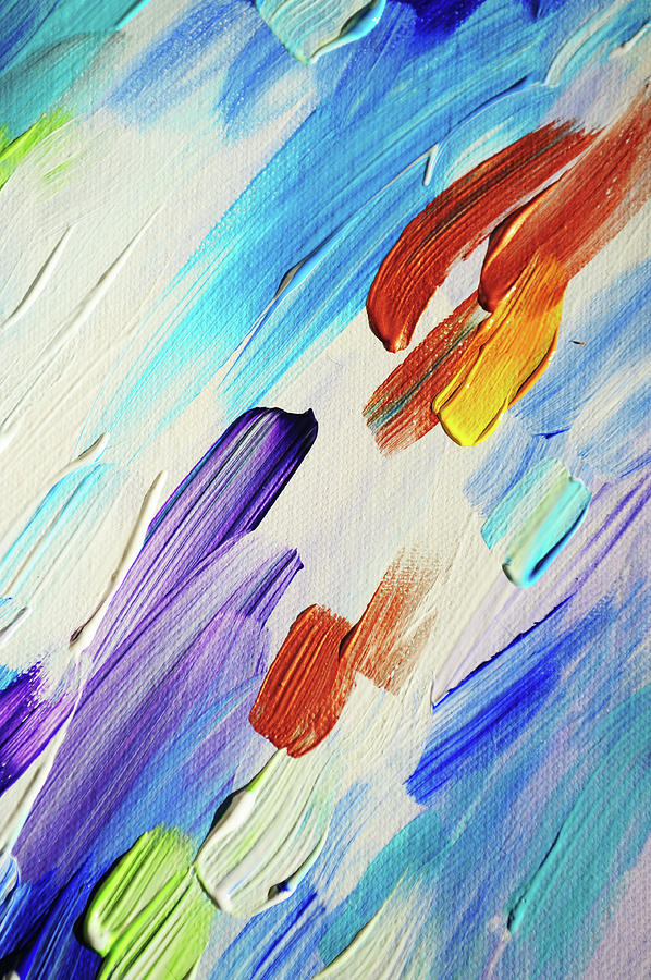 Abstract Photograph - Colorful Rain Fragment 3. Abstract Painting by Jenny Rainbow
