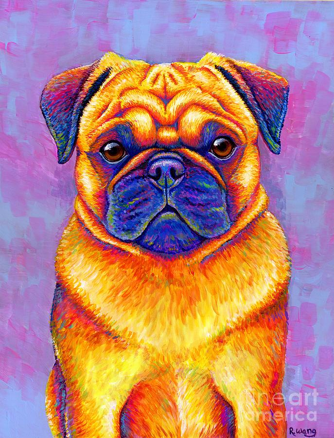 Colorful Rainbow Pug Dog Portrait by Rebecca Wang