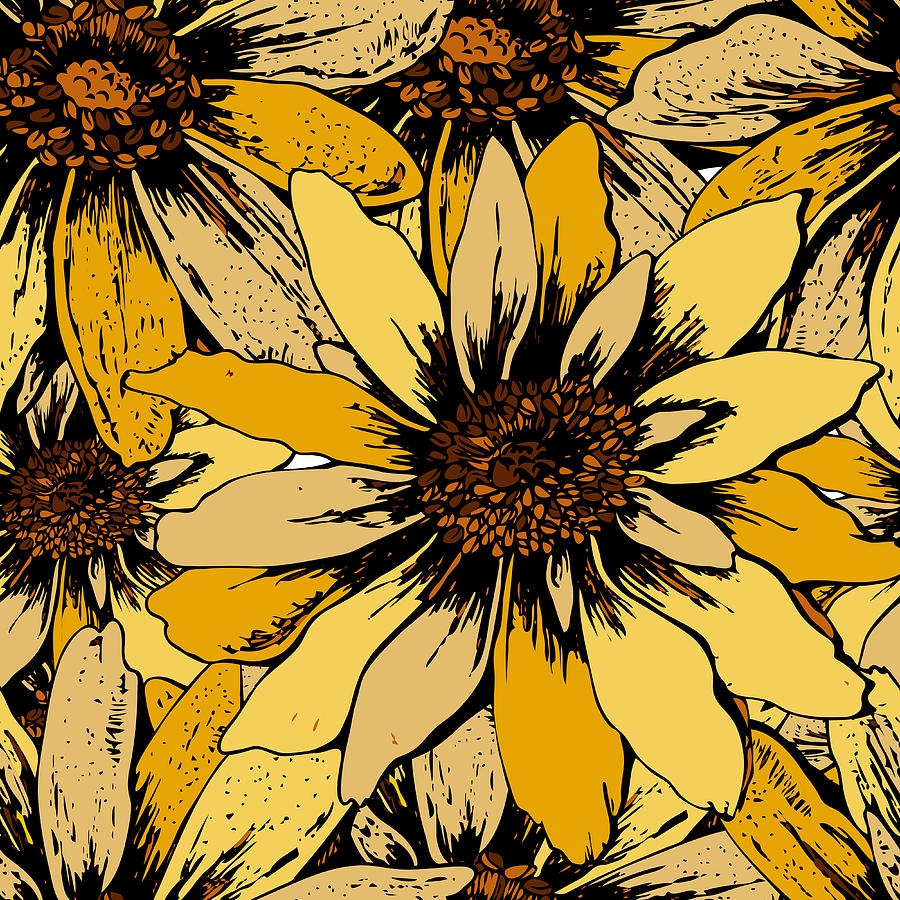 Colorful Seamless Floral Pattern With Cute Yellow Sunflowers For