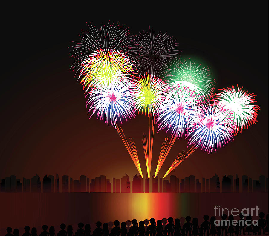 Colorful Shiny Realistic Fireworks Digital Art by Thanhtrong