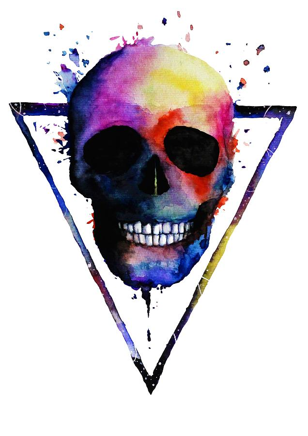 Skull Painting - Colorful Skull by ArtMarketJapan