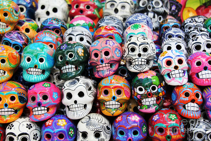 De Photograph - Colorful Skull From Mexican Tradition by Sisqopote